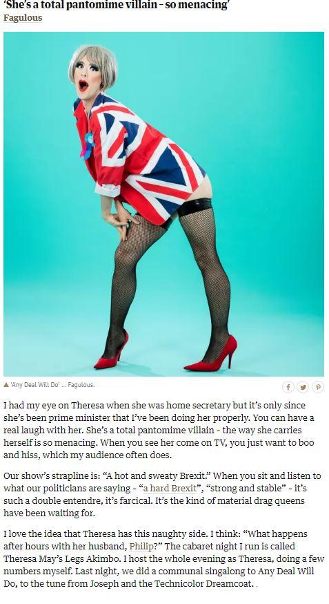Fagulous Theresa May's Legs Akimbo